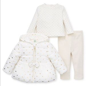 Little Me White & Gold Three Piece Coat Outfit